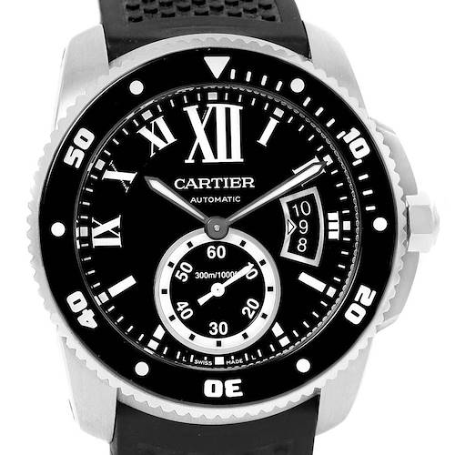 Photo of Cartier Calibre Diver Rubber Strap Mens Watch W7100056 Box Papers