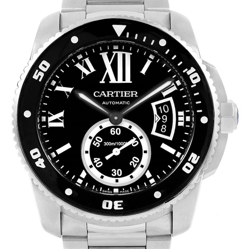 Cartier Calibre 42mm Diver Black Dial Steel Mens Watch W7100057 SwissWatchExpo