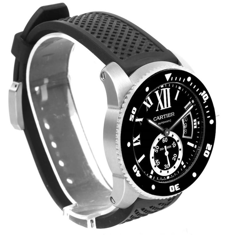 Cartier Calibre Diver Black Dial Rubber Steel Mens Watch W7100056 SwissWatchExpo