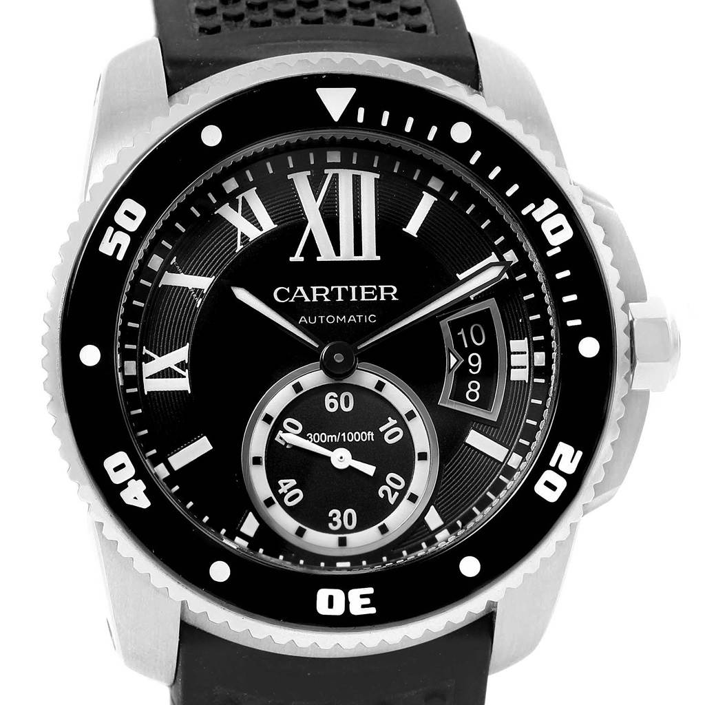 20535 Cartier Calibre Divers Black Dial Rubber Steel Mens Watch W7100056 SwissWatchExpo