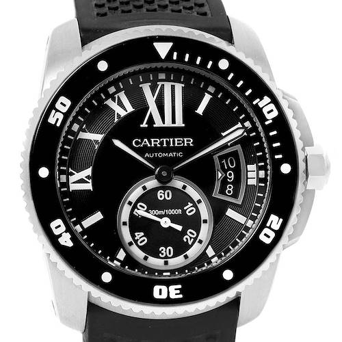 Photo of Cartier Calibre Diver Black Dial Rubber Steel Mens Watch W7100056