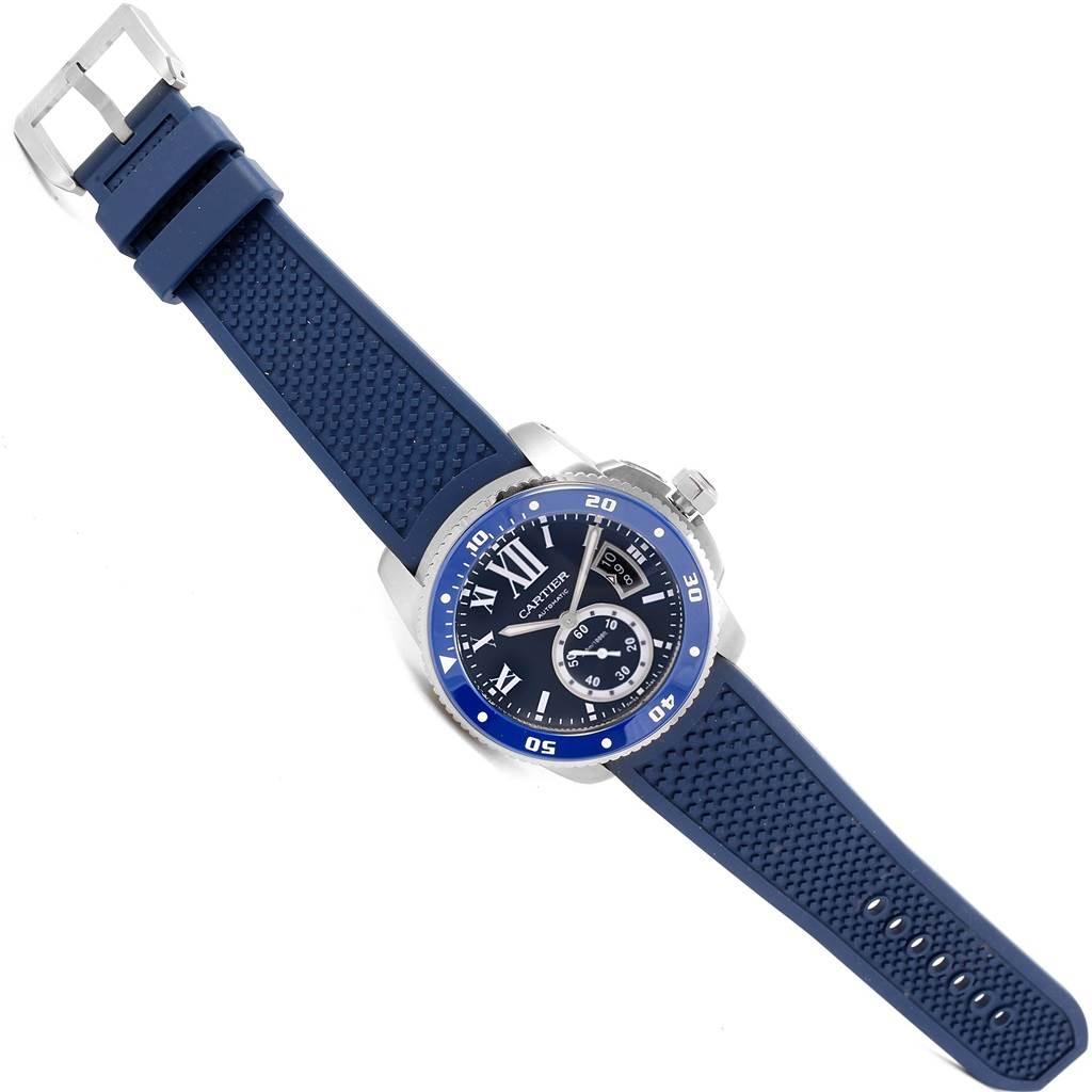Cartier Calibre Diver Blue Dial Rubber Strap Steel Mens Watch WSCA0011 SwissWatchExpo
