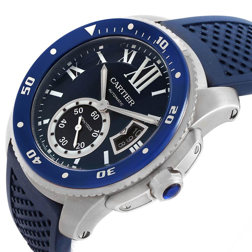 20882 Cartier Calibre Diver Blue Dial Rubber Strap Steel Mens Watch WSCA0011 SwissWatchExpo