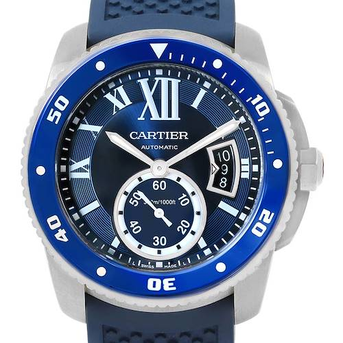 Photo of Cartier Calibre Diver Blue Dial Rubber Strap Steel Mens Watch WSCA0011