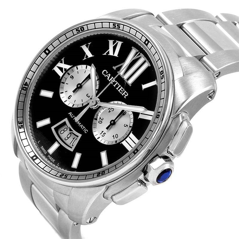 Cartier Calibre Black Dial Chronograph Mens Watch W7100061 Box Papers SwissWatchExpo
