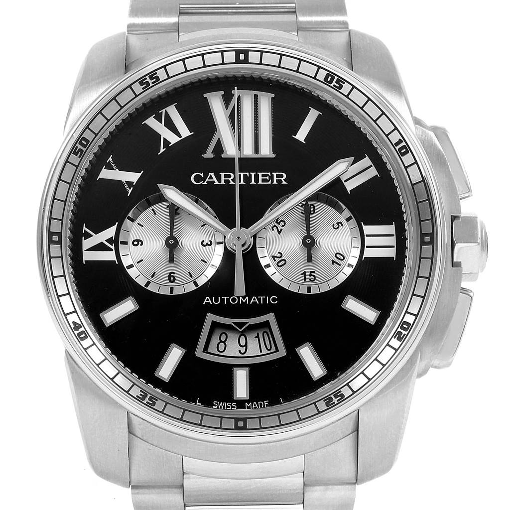 21253 Cartier Calibre Black Dial Chronograph Mens Watch W7100061 Box Papers SwissWatchExpo
