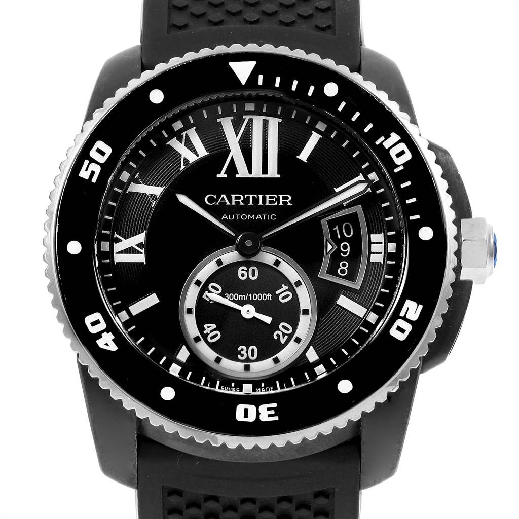 21643 Cartier Calibre Divers Black Rubber Steel Mens Watch W7100056 Box Papers SwissWatchExpo