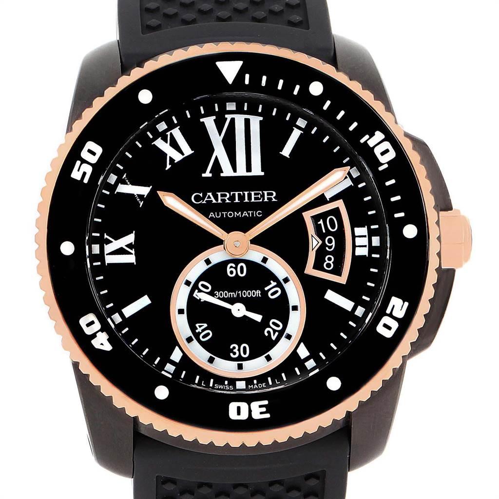 21956 Cartier Calibre Diver Carbon Rose Gold Rubber Strap Watch W2CA0004 SwissWatchExpo