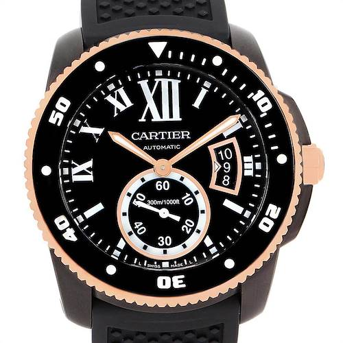 Photo of Cartier Calibre Diver Carbon Rose Gold Rubber Strap Watch W2CA0004