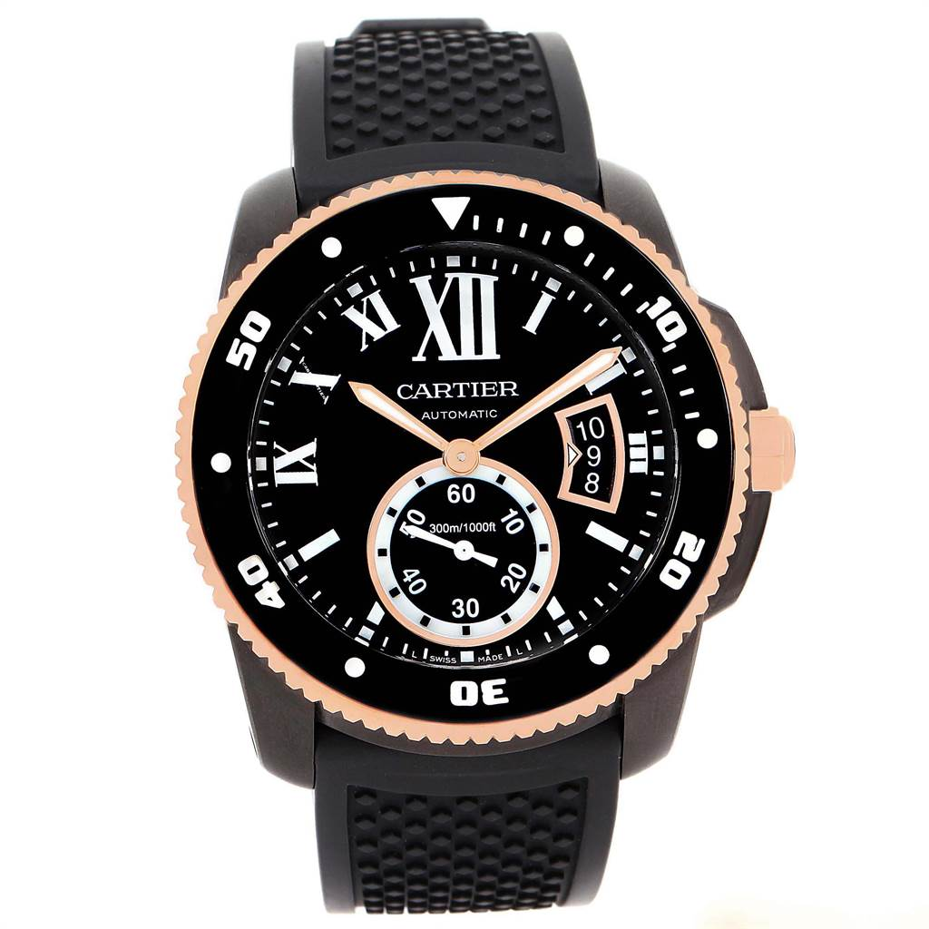 21956 Cartier Calibre DiverCarbon Rose Gold Rubber Mens Watch W2CA0004 SwissWatchExpo