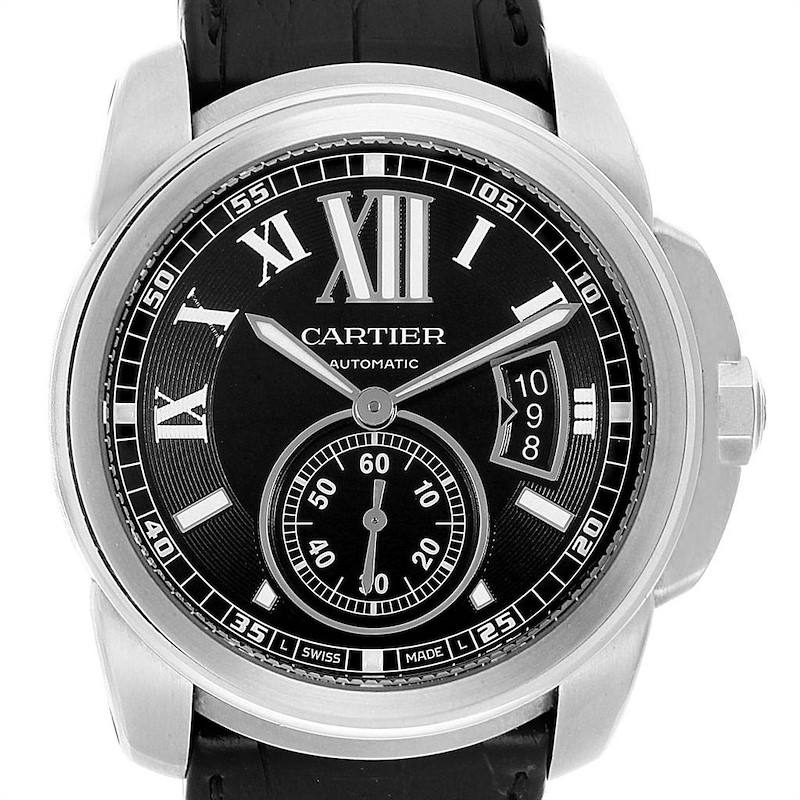 Cartier Calibre Black Dial Steel Mens Watch W7100041 Box Papers SwissWatchExpo