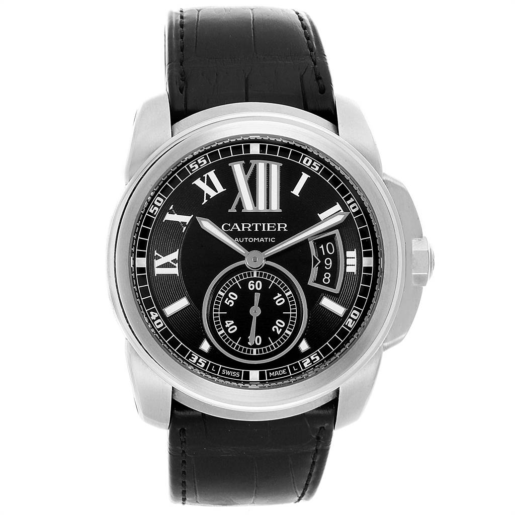 22063 Cartier Calibre Black Dial Steel Mens Watch W7100041 Box Papers SwissWatchExpo