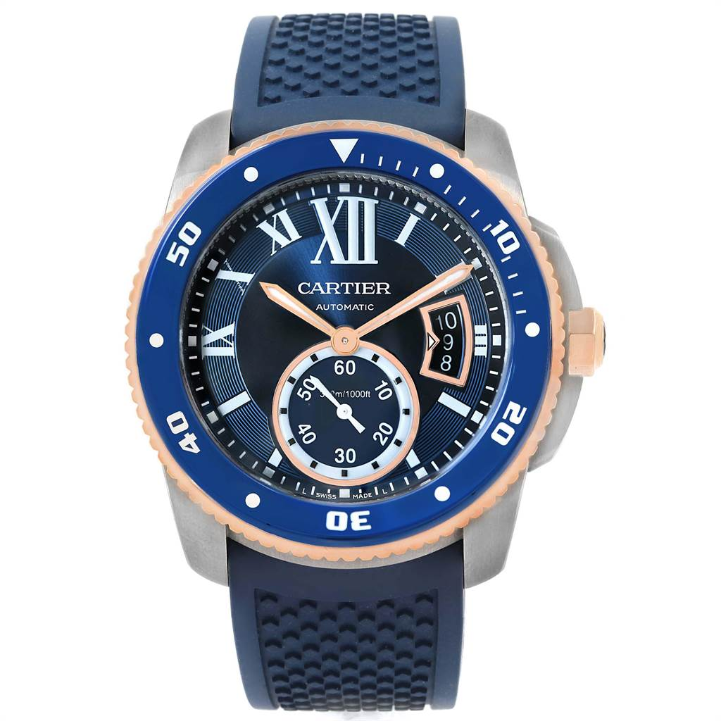 22467 Cartier Calibre Diver Steel Rose Gold Blue Strap Watch W2CA0009 Box Card SwissWatchExpo