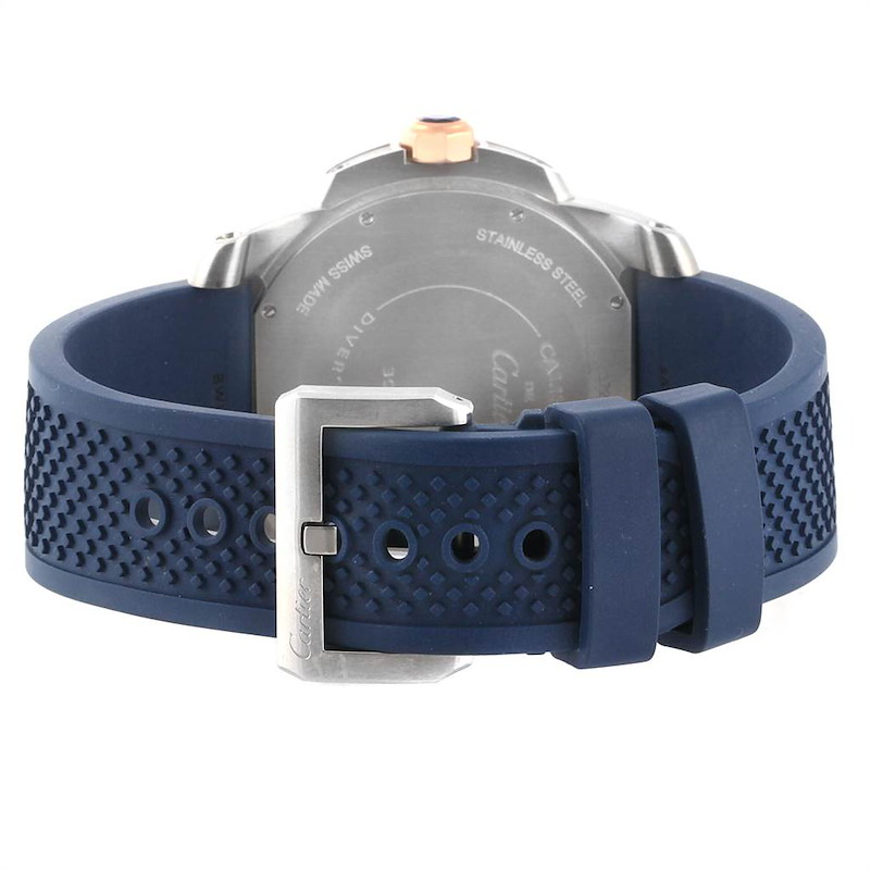 Cartier Calibre Diver Steel Rose Gold Blue Strap Watch W2CA0009 Box Card SwissWatchExpo