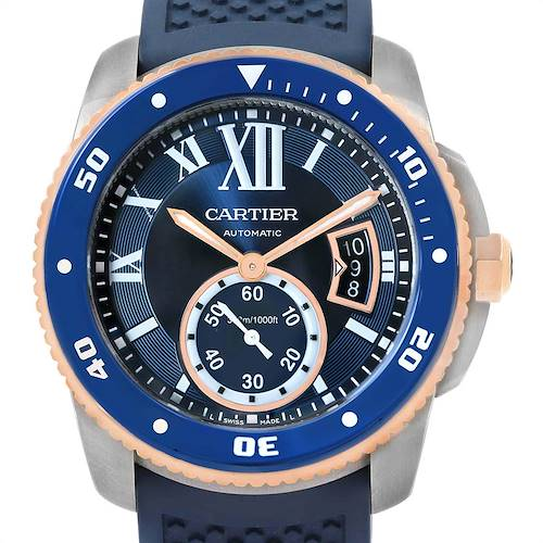 Photo of Cartier Calibre Diver Steel Rose Gold Blue Strap Watch W2CA0009 Box Card
