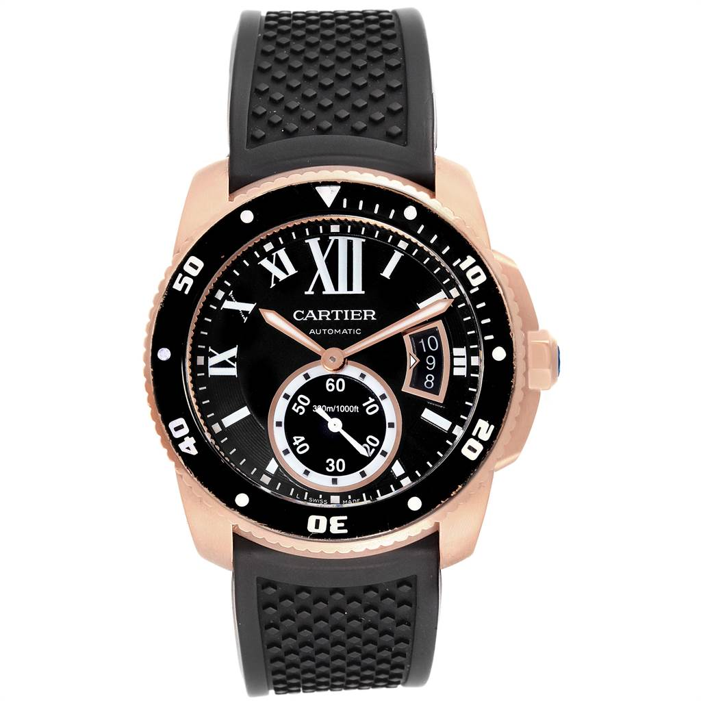 Cartier Calibre Rose Gold Black Dial Automatic Mens Watch W7100052 SwissWatchExpo