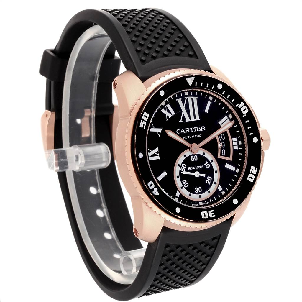 22536 Cartier Calibre Rose Gold Black Dial Automatic Mens Watch W7100052 SwissWatchExpo