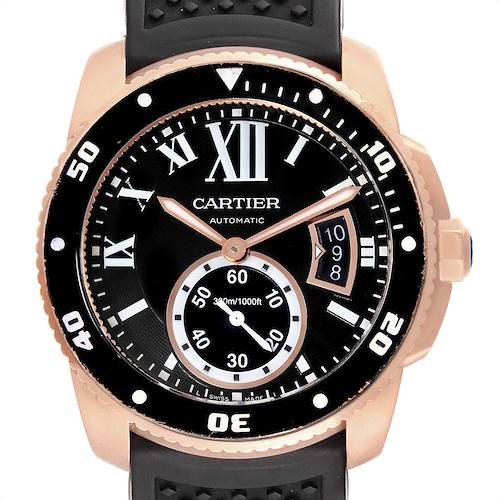 Photo of Cartier Calibre Rose Gold Black Dial Automatic Mens Watch W7100052