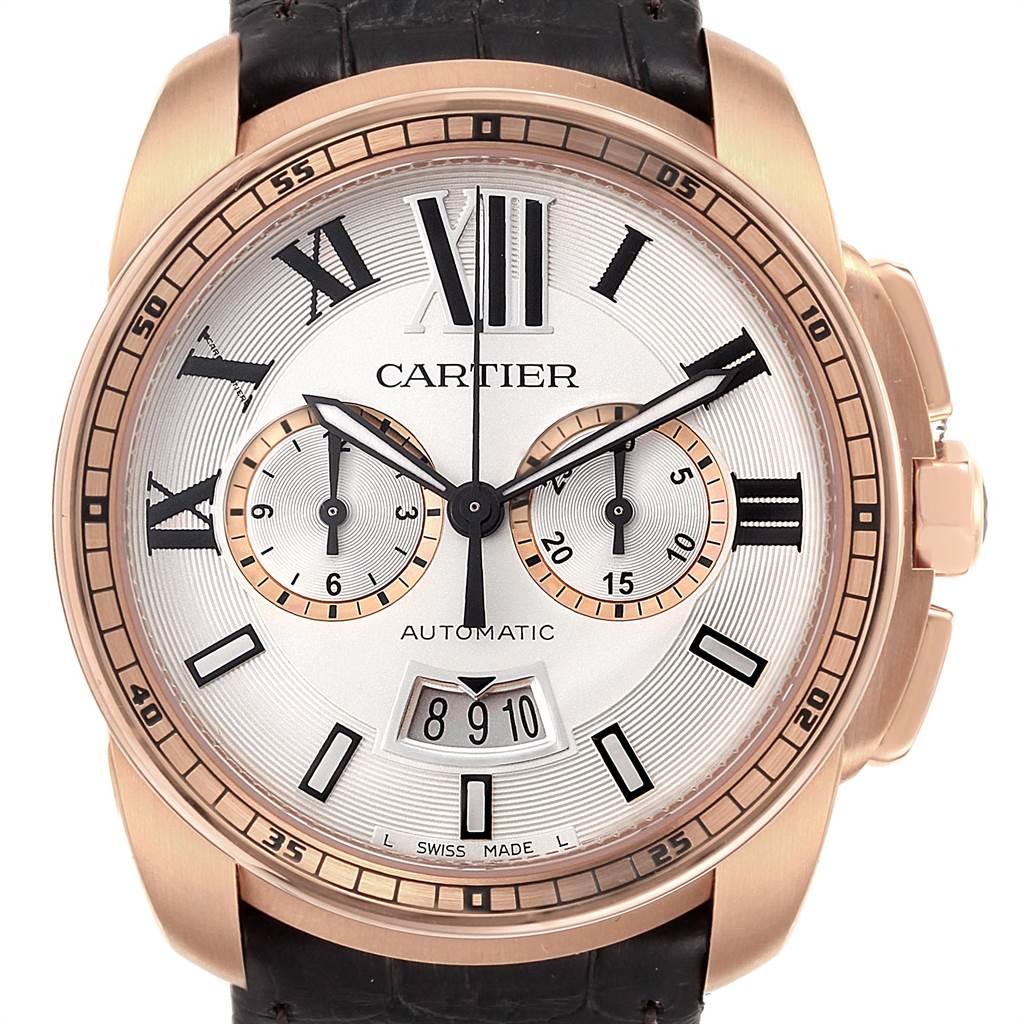 Cartier Calibre Rose Gold Chronograph Mens Watch W7100044 Unworn SwissWatchExpo