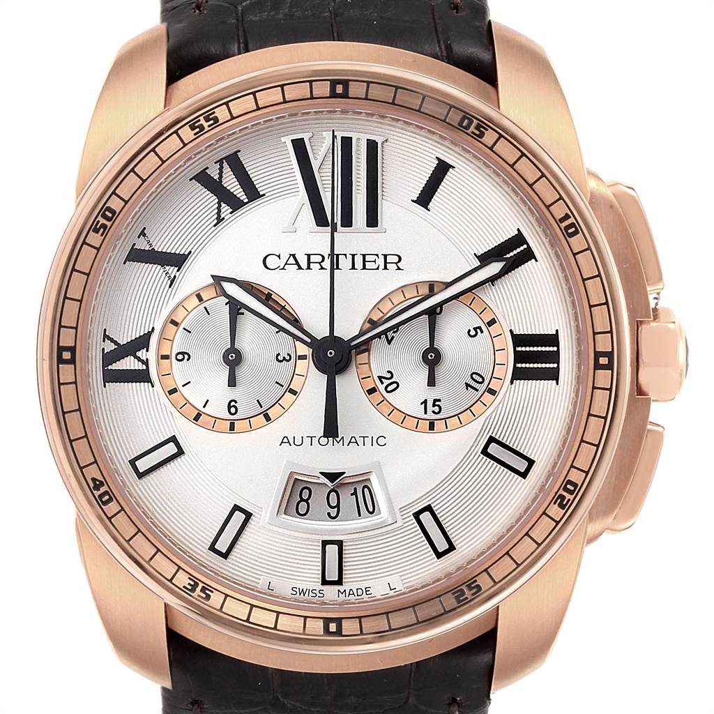 22579 Cartier Calibre Rose Gold Chronograph Mens Watch W7100044 Unworn SwissWatchExpo