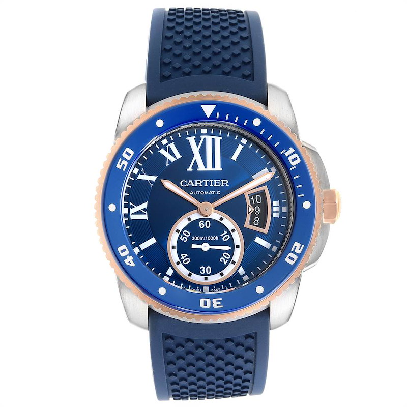 Cartier Calibre Diver Steel Rose Gold Blue Rubber Strap Watch W2CA0009 Box Card SwissWatchExpo