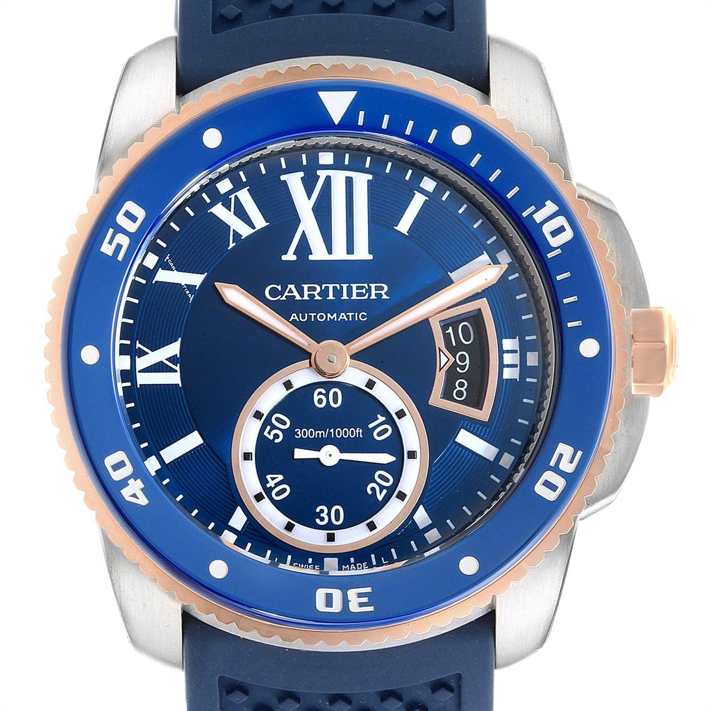 22861 Cartier Calibre Diver Steel Rose Gold Blue Rubber Strap Watch W2CA0009 Box Card SwissWatchExpo