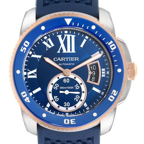 Photo of Cartier Calibre Diver Steel Rose Gold Blue Rubber Strap Watch W2CA0009 Box Card