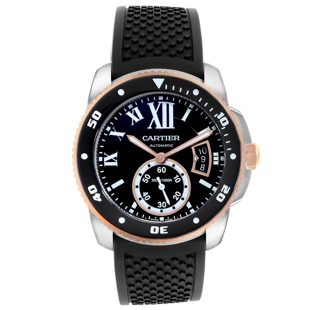 22873 Cartier Calibre Diver Steel Rose Gold Rubber Strap Mens Watch W7100055 SwissWatchExpo