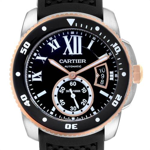Cartier Calibre Diver Steel Rose Gold Rubber Strap Mens Watch W7100055