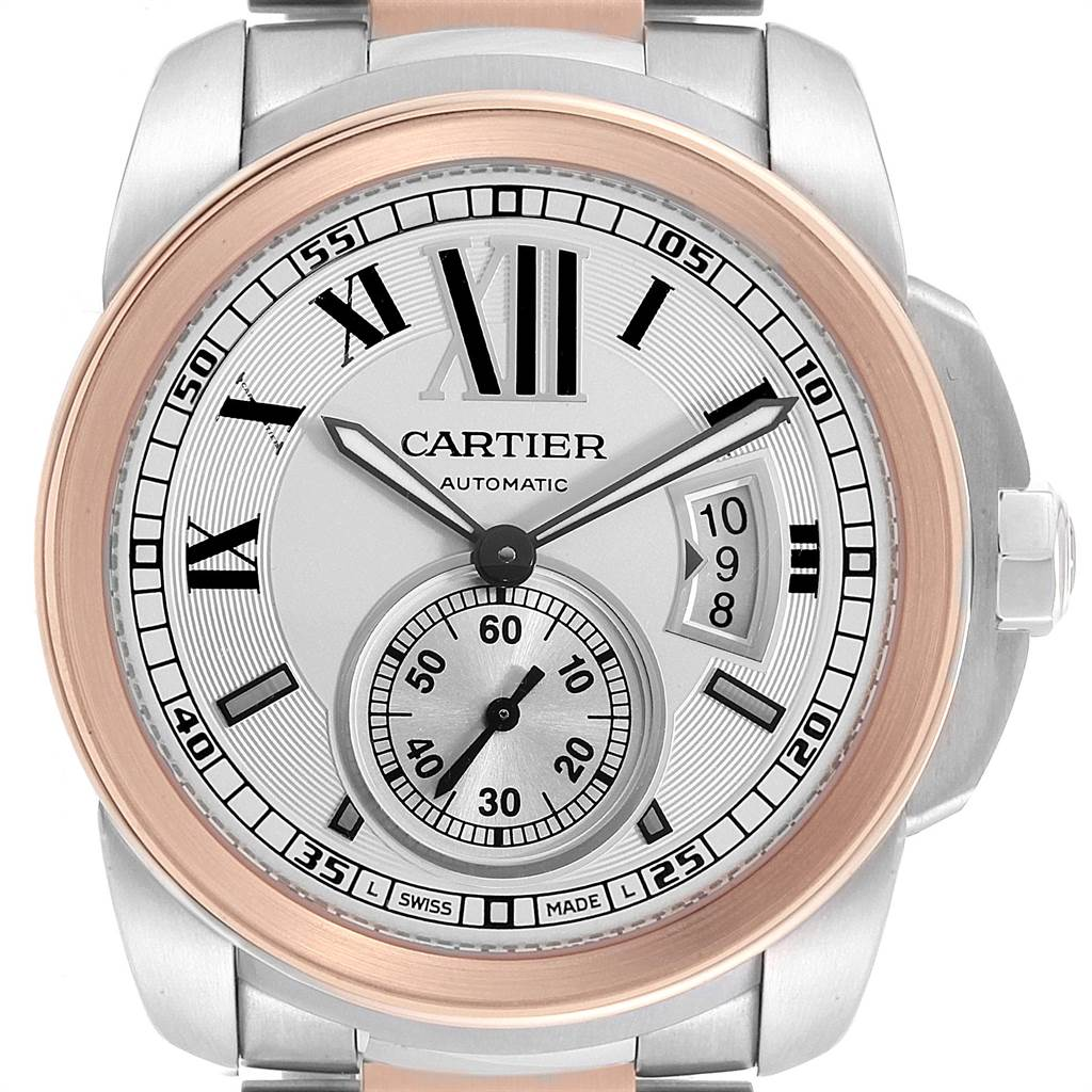 Cartier Calibre Diver Steel Rose Gold Silver Dial Mens Watch W7100036 SwissWatchExpo