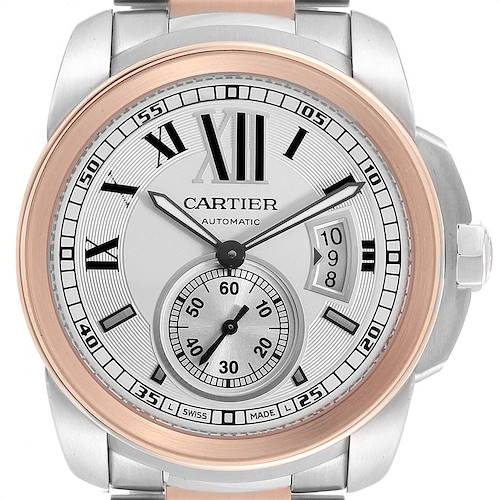 Photo of Cartier Calibre Diver Steel Rose Gold Silver Dial Mens Watch W7100036