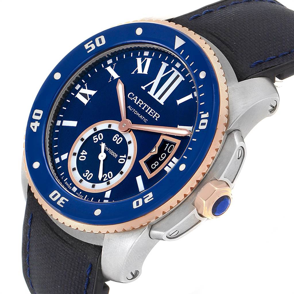 22698 Cartier Calibre Diver Steel Rose Gold Blue Dial Mens Watch W2CA0009 SwissWatchExpo