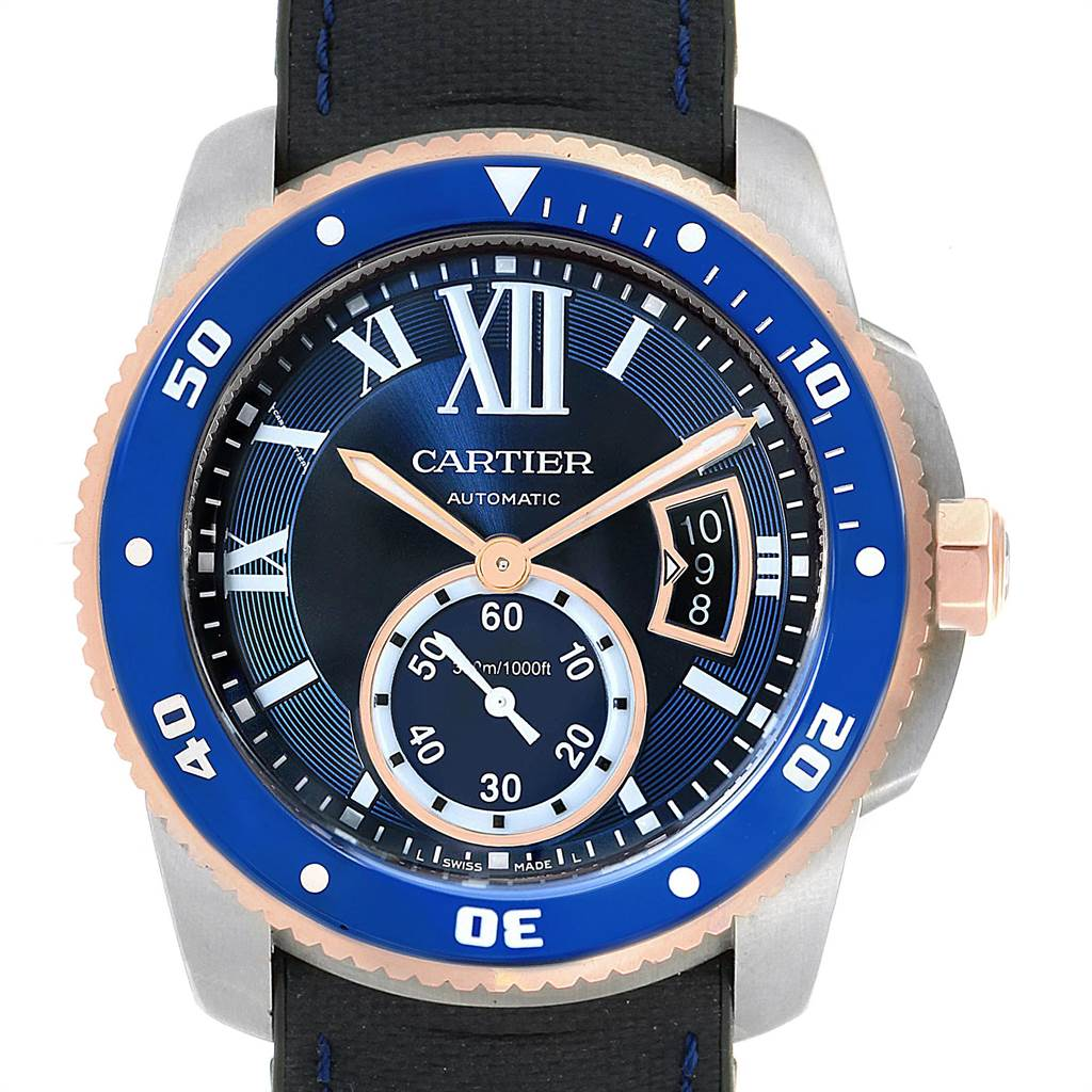 Cartier Calibre Diver Steel Rose Gold Blue Dial Mens Watch W2CA0009 SwissWatchExpo