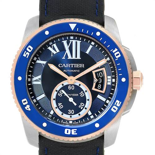 Photo of Cartier Calibre Diver Steel Rose Gold Blue Dial Mens Watch W2CA0009