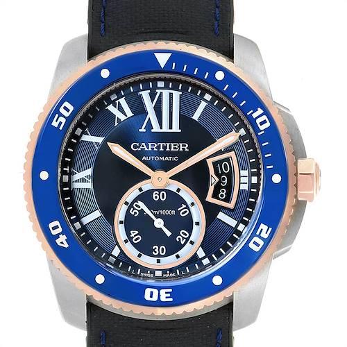Photo of Cartier Calibre Diver Steel Rose Gold Blue Dial Mens Watch W2CA0009