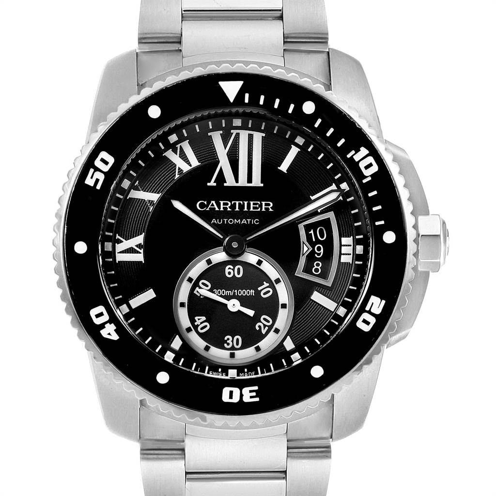 23091 Calibre De Cartier Black Dial Automatic Steel Mens Watch W7100057 SwissWatchExpo