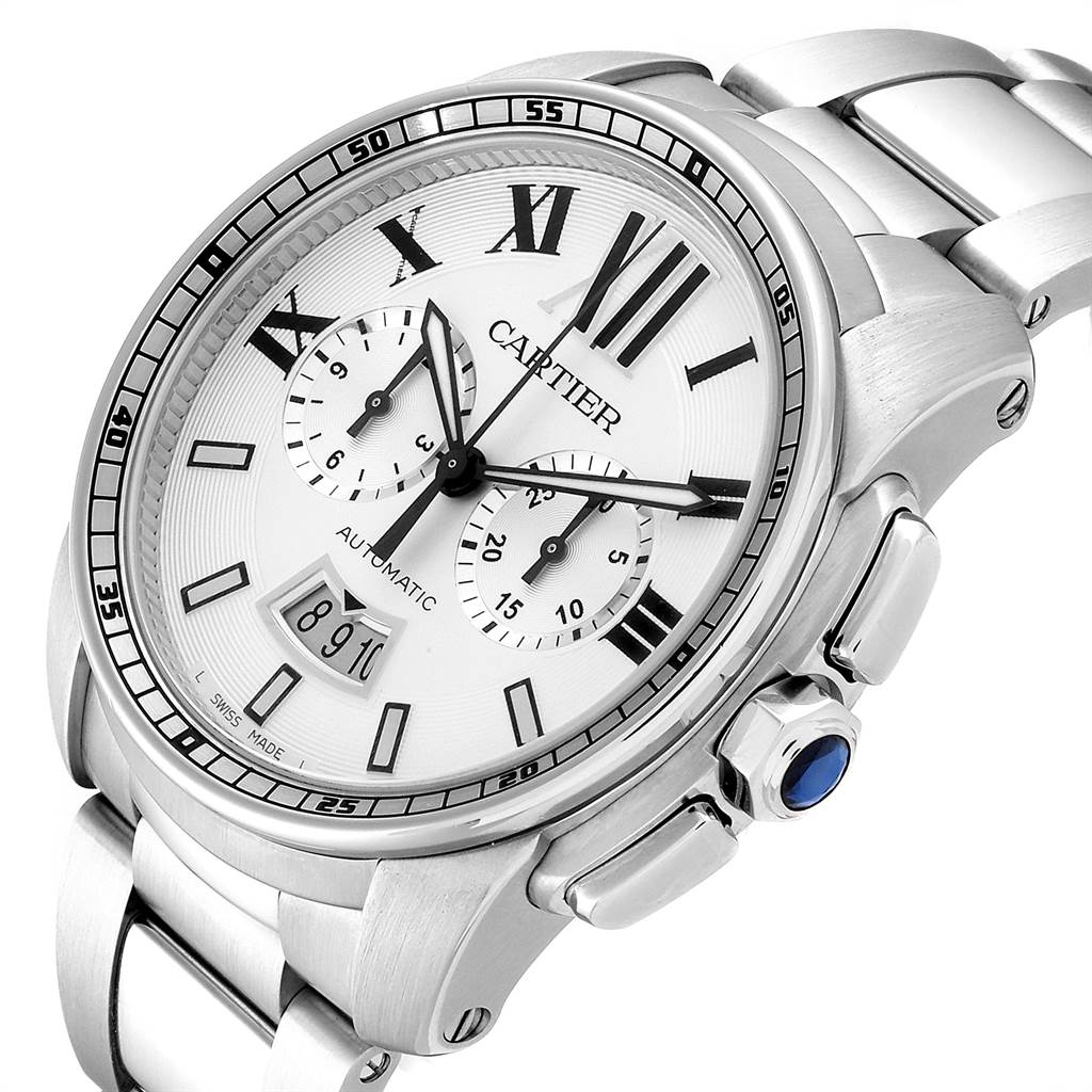 23675 Cartier Calibre Silver Dial Chronograph Mens Watch W7100045 Box Papers SwissWatchExpo