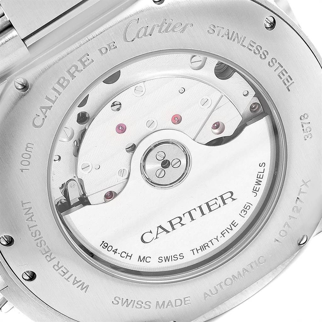 Cartier Calibre Silver Dial Chronograph Mens Watch W7100045 Box Papers SwissWatchExpo