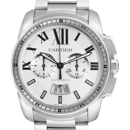 Cartier Calibre Silver Dial Chronograph Mens Watch W7100045 Box Papers