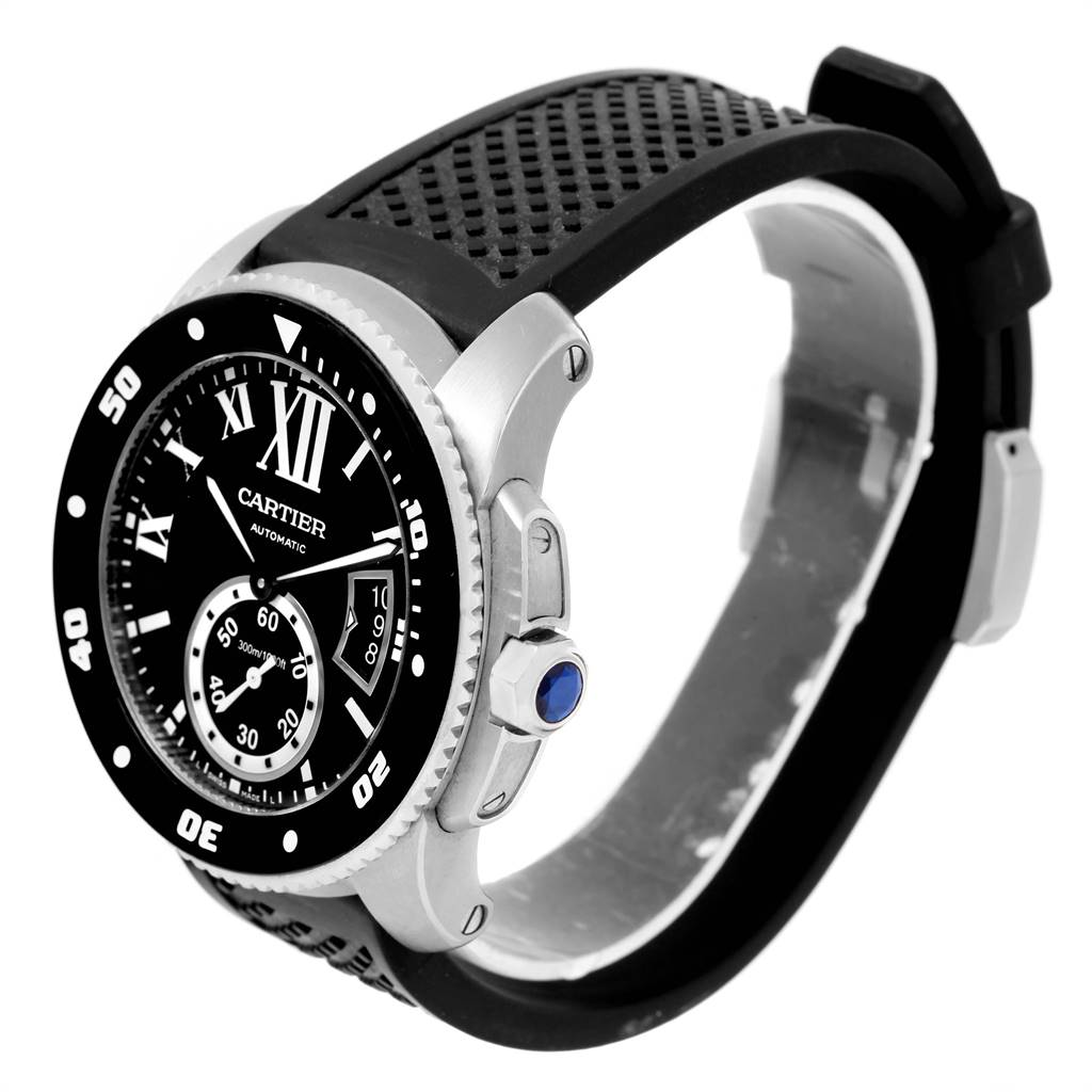Cartier Calibre Diver Black Rubber Strap Mens Watch W7100056 Box Papers SwissWatchExpo