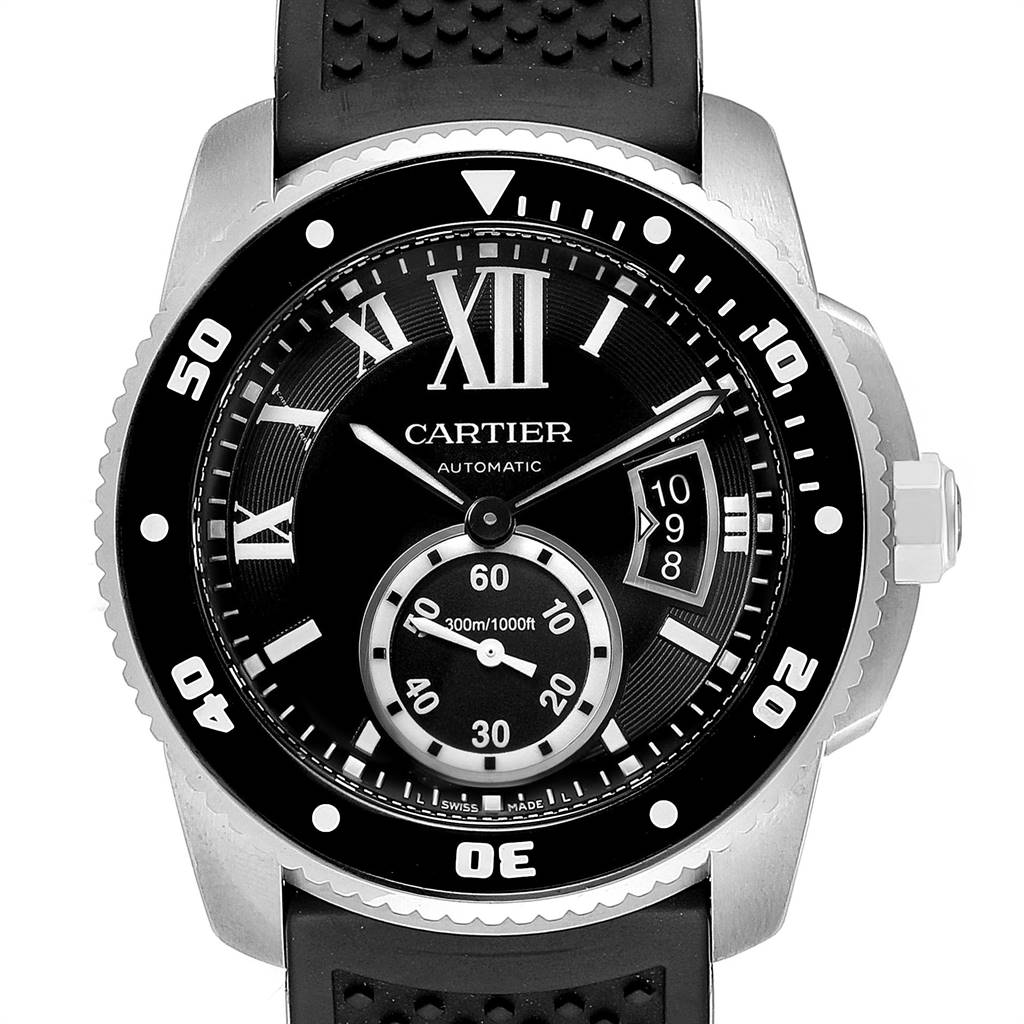 Cartier Calibre Divers Black Rubber Strap Mens Watch W7100056 Box Papers SwissWatchExpo