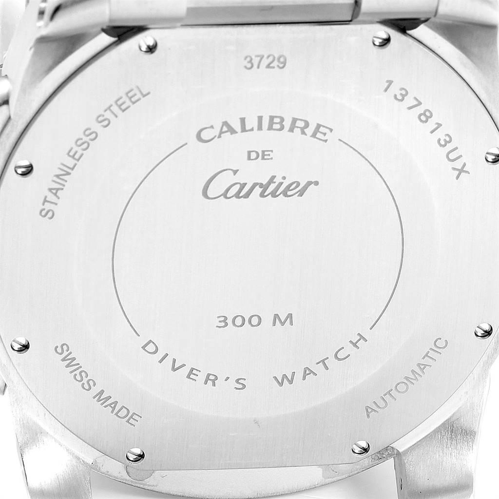 24246 Calibre De Cartier Black Dial Automatic Steel Mens Watch W7100057 SwissWatchExpo