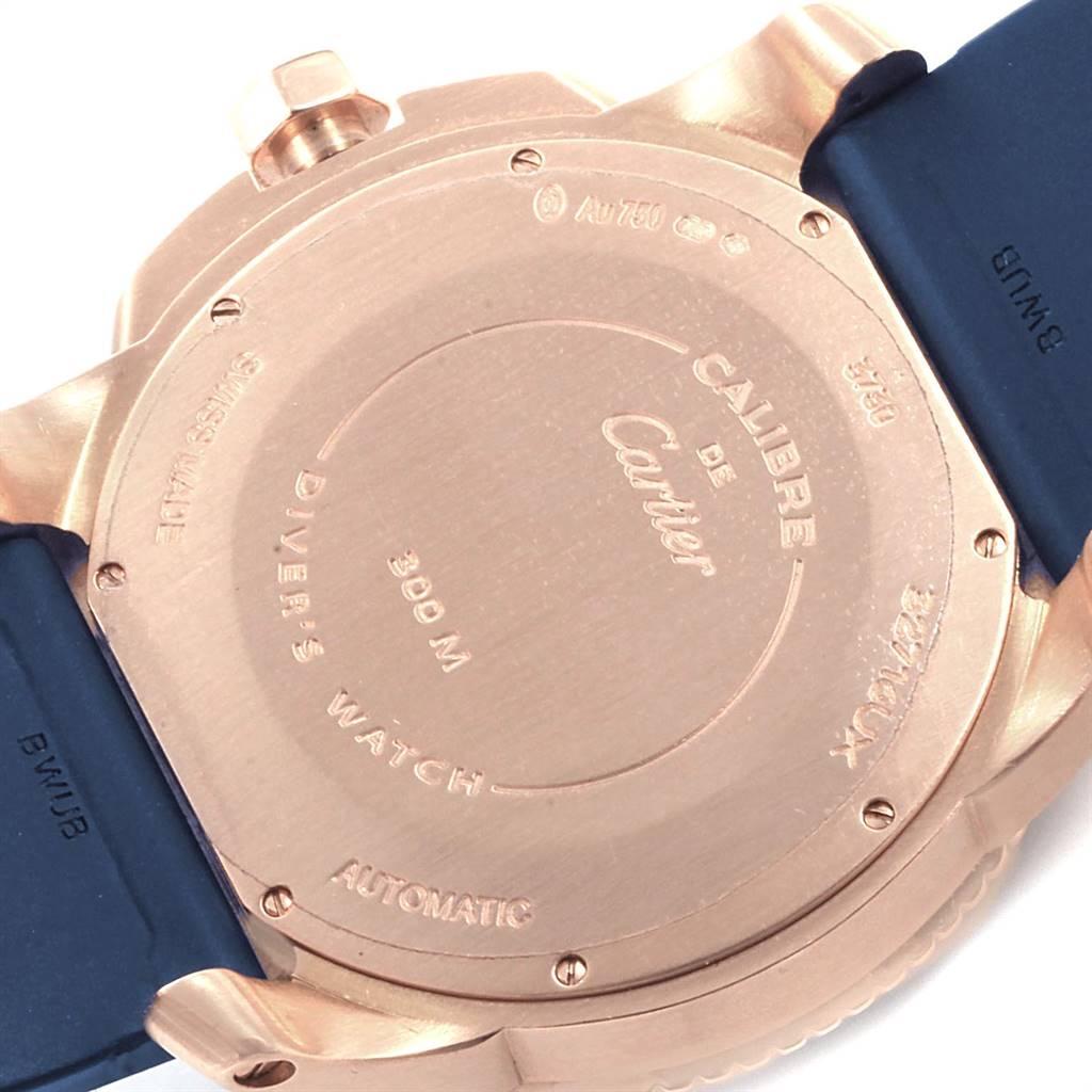 Cartier Calibre Rose Gold Blue Dial Automatic Mens Watch WGCA0010 SwissWatchExpo