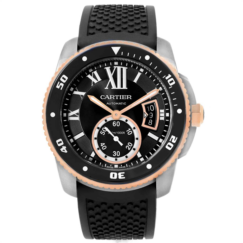 22467A Cartier Calibre Diver Steel Rose Gold Rubber Strap Mens Watch W7100055 SwissWatchExpo