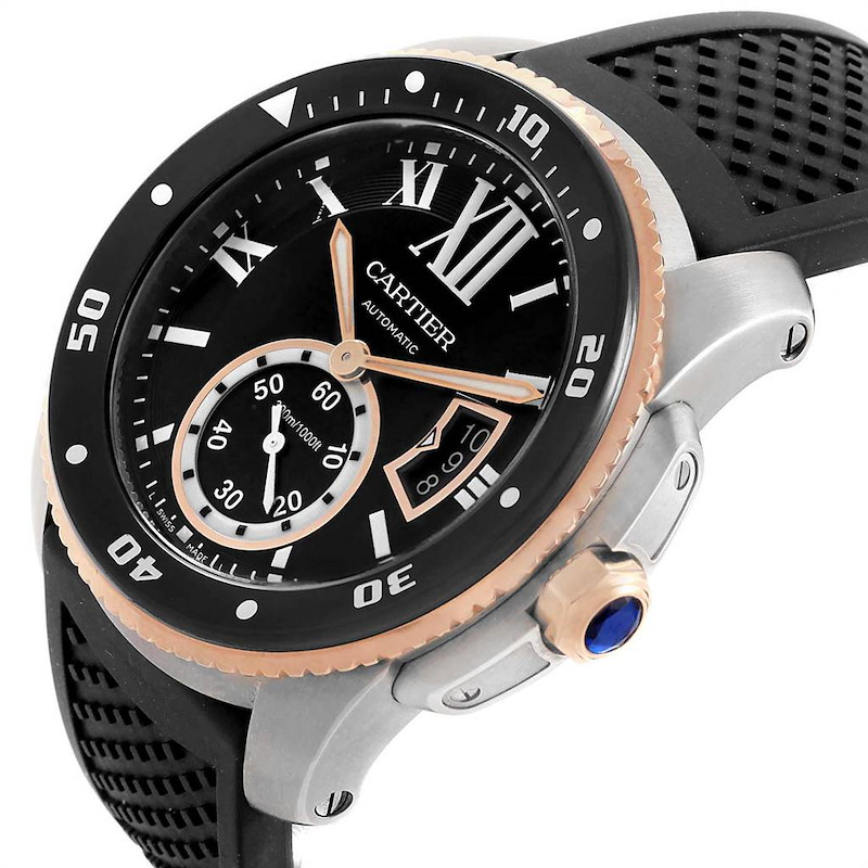 Cartier Calibre Diver Steel Rose Gold Rubber Strap Mens Watch W7100055 SwissWatchExpo