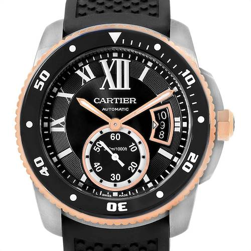 Photo of Cartier Calibre Diver Steel Rose Gold Rubber Strap Mens Watch W7100055 Box Card