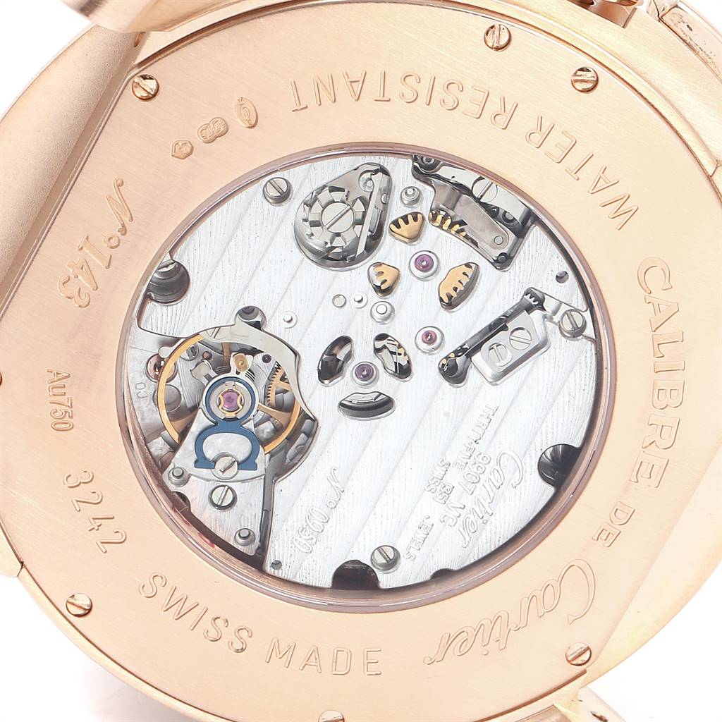 Cartier Calibre Central Chronograph Rose Gold Mens Watch W7100004 SwissWatchExpo