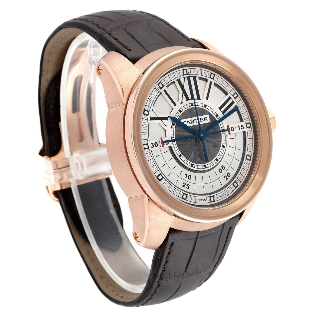 25126 Cartier Calibre Central Chronograph Rose Gold Mens Watch W7100004 SwissWatchExpo