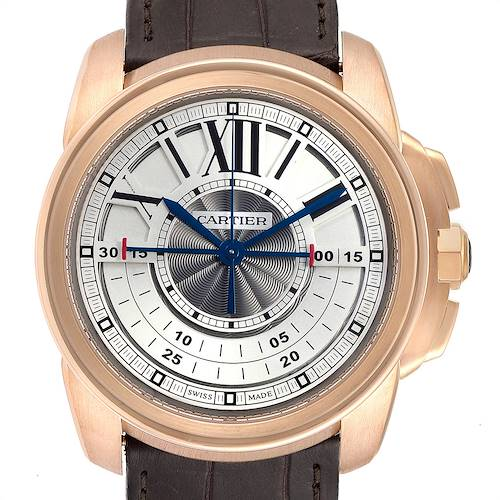 Photo of Cartier Calibre Central Chronograph Rose Gold Mens Watch W7100004