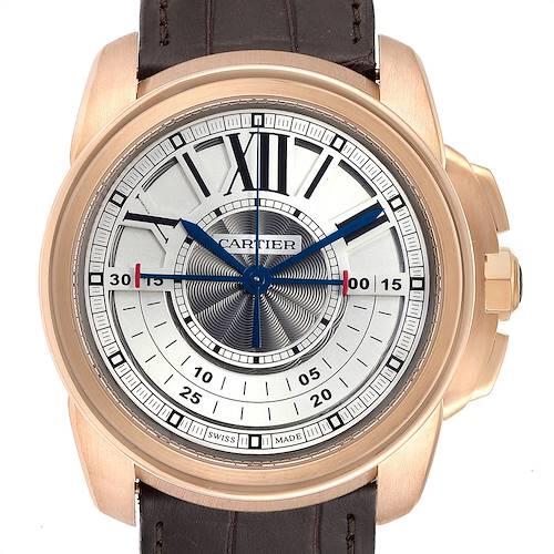 Cartier Calibre Central Chronograph Rose Gold Mens Watch W7100004